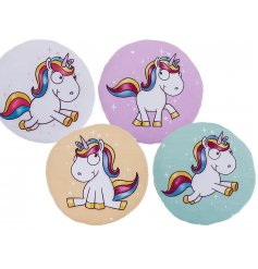 A cute assortment of colourful unicorn themed cushions