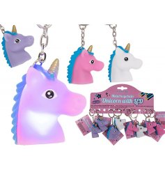 A fun and colourful assortment of LED unicorn keychains
