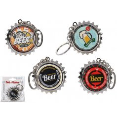 This funky assortment of vintage themed bottle cap keychains will always come in handy for parties