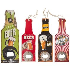 An assortment of wooden bottle opens with a retro beer theme