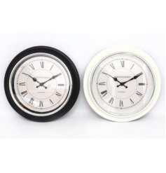 An assortment of 2 wall clocks with layered edges, 40cm