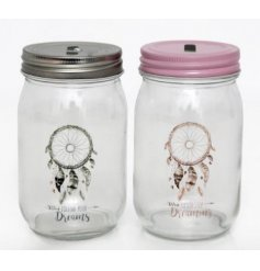 An assortment of 2 Pink/Grey Dream Catcher Money Jars