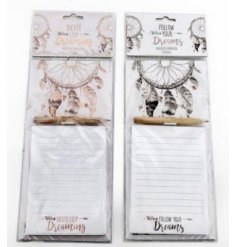 An assortment of 2 magnetic notepads with dreamcatcher design