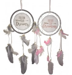 An assortment of 2 feathered dreamcatchers with inspirational quotes