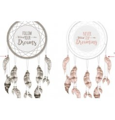 Add a pure and warm inspired feel to any home space with this assortment of pink and grey toned dream catchers