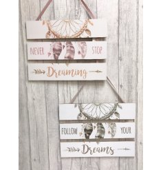 Bring a sweet pure and warm sense to any home space with this beautiful assortment of hanging wooden plaques