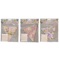 An assortment of 3 Les Fleurs DIY Flag Bunting Kits