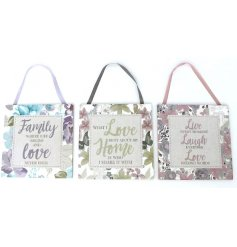 An assortment of 3 floral Hanging Plaques with sentimental quotes