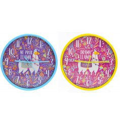 Add a colourfully creative twist to your home decor with this funky assortment of llama themed wall clocks