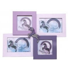 A mystical and magical themed cluster frame finished with a galloping unicorn design