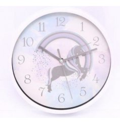 Bring a magical tone to any bedroom space with this colourful unicorn themed clock