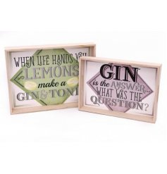 Bring out the gin in style with this stylish wooden set of sized trays