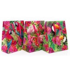 An assortment of three tropical bird themed gift bags