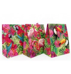 Add a tropical edge to your gift giving this summer with this funky assortment of themed gift bags