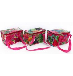 A funky summer themed assortment of cooler lunch bags, each finished with its own tropical bird design