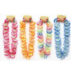 A funky summer themed assortment of colourful Hawaiian Leis, each finished with its own colourful array of blooms
