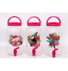 A funky summer themed assortment of plastic drinks dispensers, each finished with its own tropical bird desgin