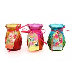 A funky summer themed assortment of scented glass candles, each finished with its own tropical bird tag
