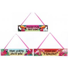 A funky summer themed assortment of hanging plaques, each finished with its own tropical bird design and quote