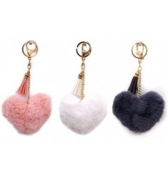 Bring a chic and girly touch to any keyset or handbag with this colourful assortment of pompom heart keyrings