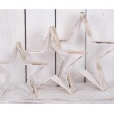 A rustic inspired set of sized star decorations