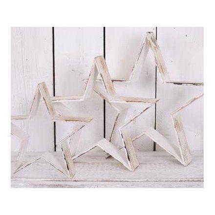 Set of 3 Wooden Stars 55.5cm