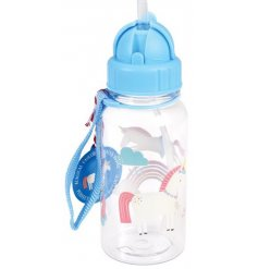 A magical unicorn themed plastic drinks bottle, complete with a retractable straw top