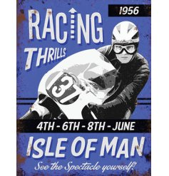 A Purple Mini Metal Dangler Sign with Isle Of Man Racing theme