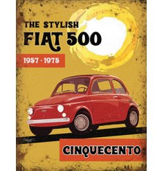 An orange toned metal sign featuring a Vintage Fiat 500 decal