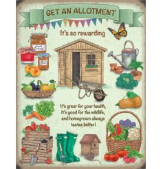 A vintage inspired metal sign, perfectly finished with gardening illustrations and quotes