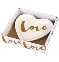 Add a sweetheart touch to your vanity stand with this scripted love porcelain trinket dish