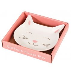 Add a sweet touch to your vanity stand with this adorably smiling cat porcelain trinket dish
