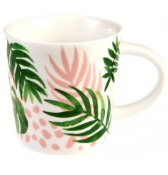 An on trend themed porcelain mug, complete with a tropical palms themed design