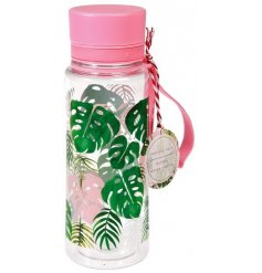An on trend themed drinking bottle, complete with an fabric strap for easy carrying