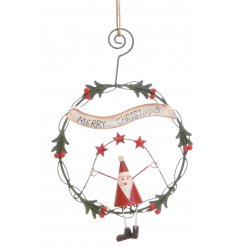 A wire Christmas hanging decoration with santa
