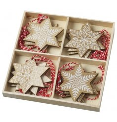 Each finished with a white painted snowflake pattern, these natural toned hangers will fit in with any additional theme