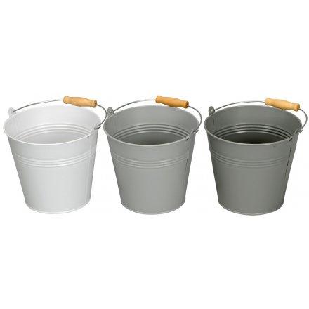 Grey Metal Mini Buckets
