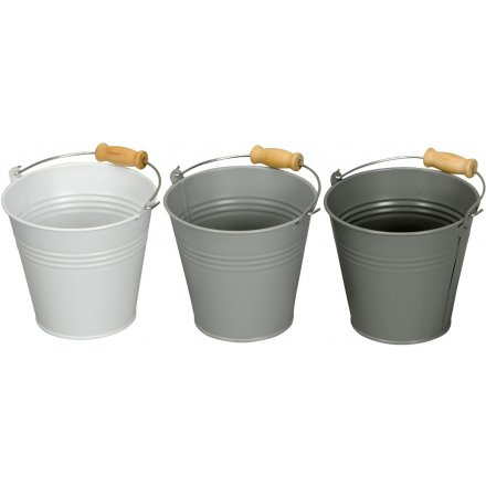 Extra Small Grey Metal Buckets
