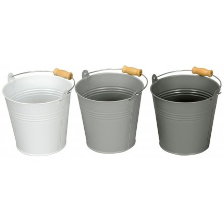 Small Grey Metal Buckets