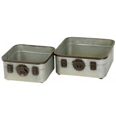 With its additional vintage buckles and clasps, these two trays will add character to any space