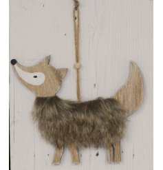 A sweet little rustic inspired hanging wooden fox decoration, finished with a fluffy faux fur body