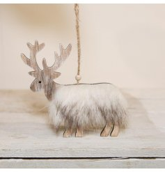 A sweet little rustic inspired hanging wooden deer decoration, finished with a fluffy faux fur body