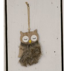 A sweet little rustic inspired hanging wooden owl decoration, finished with a fluffy faux fur body
