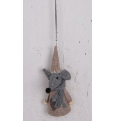 Made up with its cozy red fabric decal and bouncy hanging spring, this little fabric mouse decoration