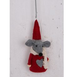 Add a sweet touch to any festive decor this christmas time with this red fabric mouse