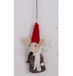 Made up with its cozy grey knitted decal and bouncy hanging spring, this little fabric mouse decoration is a great addit