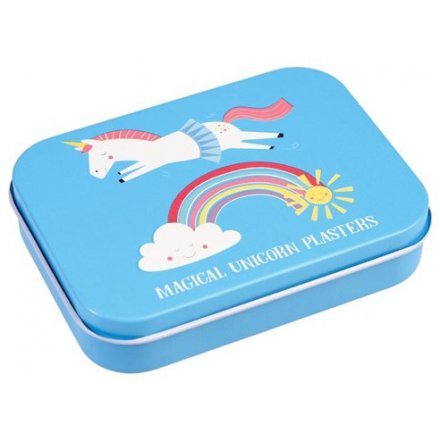 A sweet little metal tin filled with unicorn themed plasters, perfect for ouchies and booboos!
