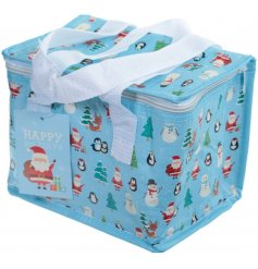 Keep your lunch cool this christmas time with this funky Santa and friends themed lunch bag