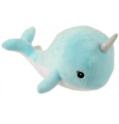 This sweet narwhal shaped cushion will be sure to bring comfort and character to any little ones bedroom