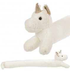 Keep out the cold with this magical white fluffy unicorn draft excluder